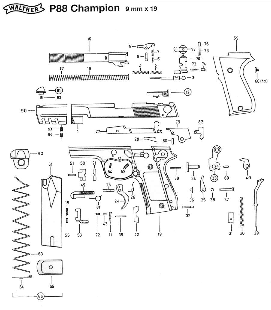 walther p88 competition walther p99 information parts diagram, exploded view p88 champion
